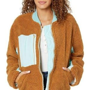 FREE PEOPLE FAUX SHEARLING JACKET BROWN TEAL NWT